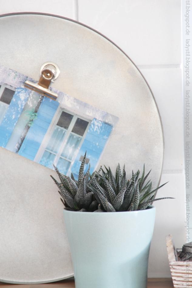 Sukkulente in türkisem Übertropf vor einem runden silbernen Tablett mit Postkarte auf der man türkise Fensterläden sieht