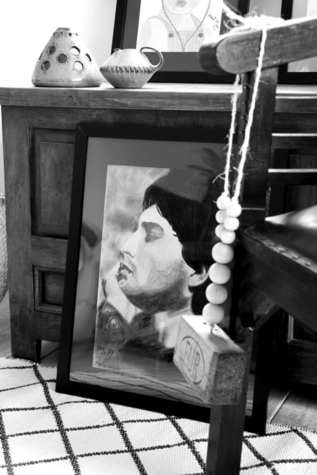 Sicht auf ein Portrait in schwarz weiß