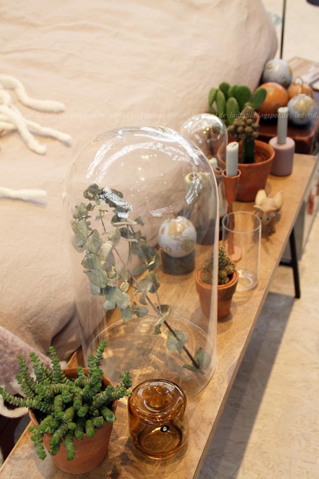Pflanzen in verschiedenen Behältnissen und unter Glas auf der vt wonen en design beurs amsterdam 2015