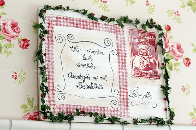 Adventsgruß rot weiß, Upcycling Holzpuzzle