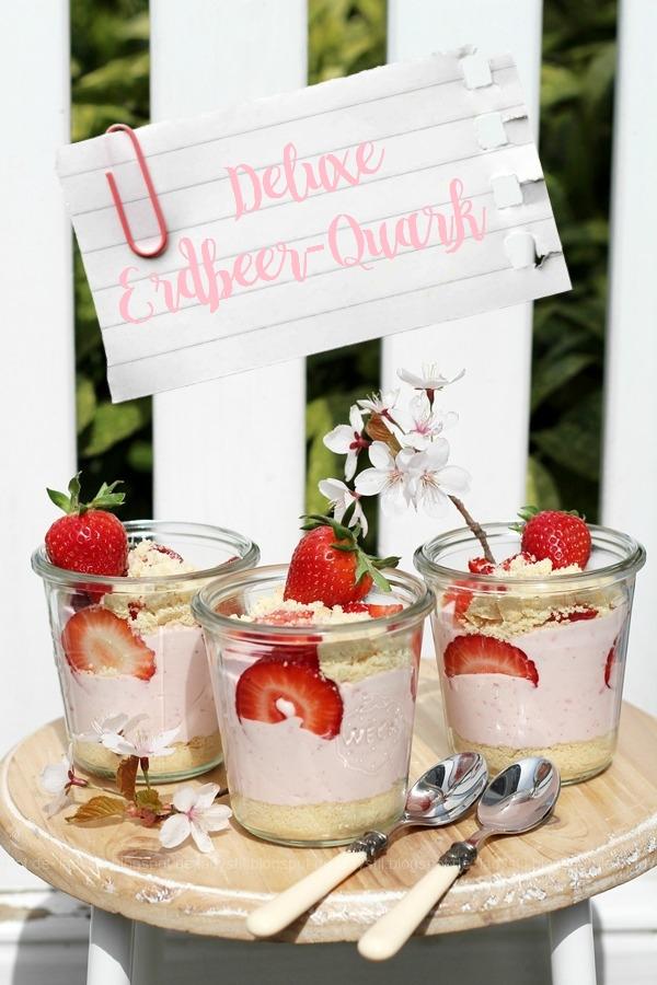 Erdbeer Nachtisch mit Shortbread, Deluxe Erdbeer-Quark,