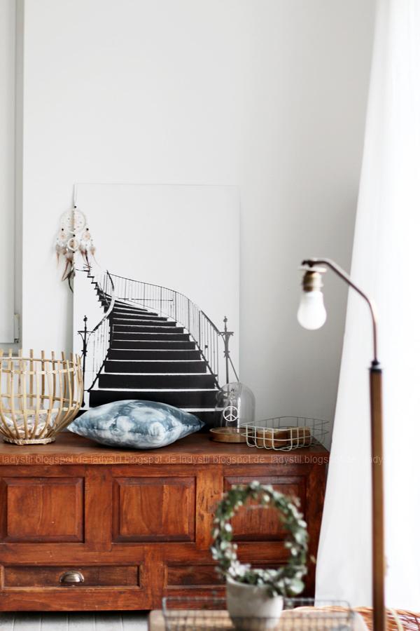 Deko-Donnerstag mit einem Wohnzimmer Update, Deko-Ideen, Inspirationen,Boho-Elemente,Wandbild Treppe