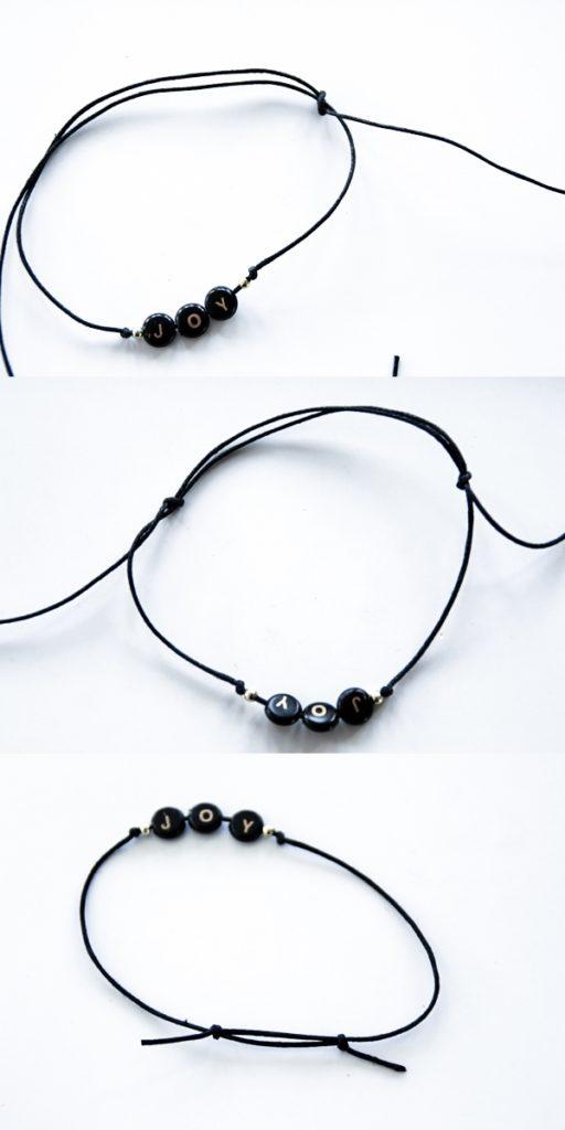 DIY Armbänder mit Schiebeknoten Anleitung, Lastminute Tipp Weihnachtsgeschenke, Armbänder schwarz rosegold selber machen,