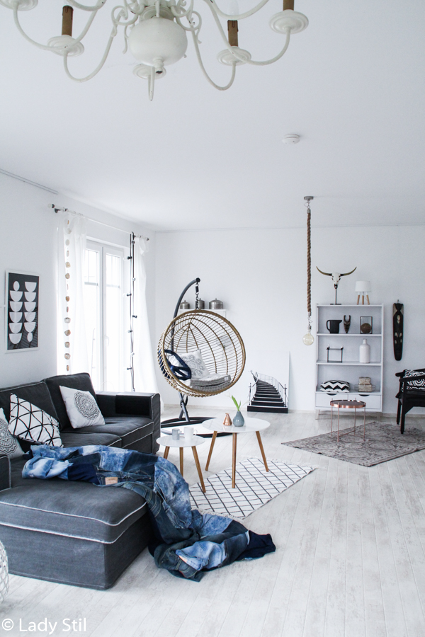 Wohnzimmer im New Boho Look, Skandinavisches Design gepaart mit Bohoelementen