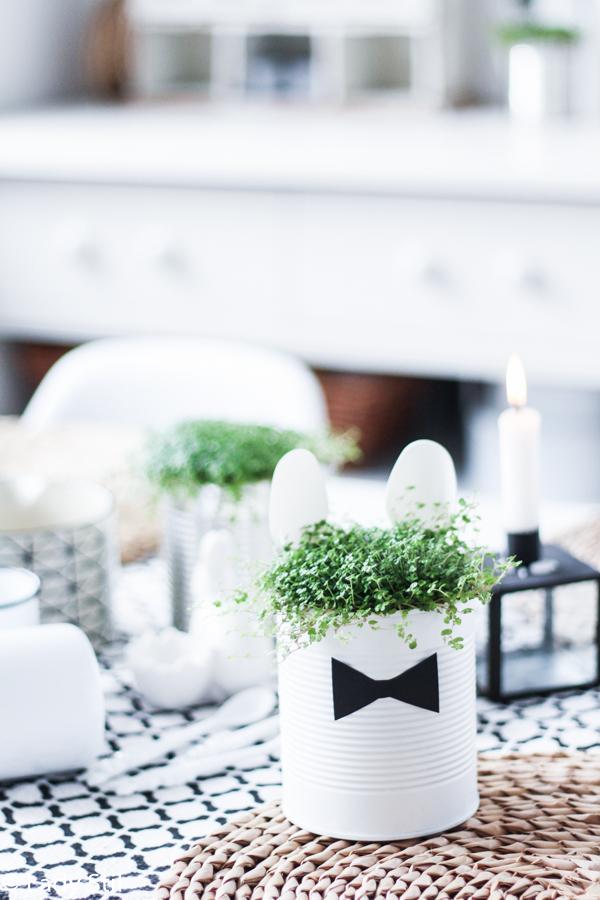 DIY Dezente Osterdeko aus Konservendosen, Löffeln und Bubikopf selber machen, schwarz weiß
