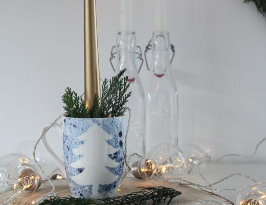 Last Minute DIY Weihnachtsgeschenk Tasse mit Muster und Nagellack marmorieren