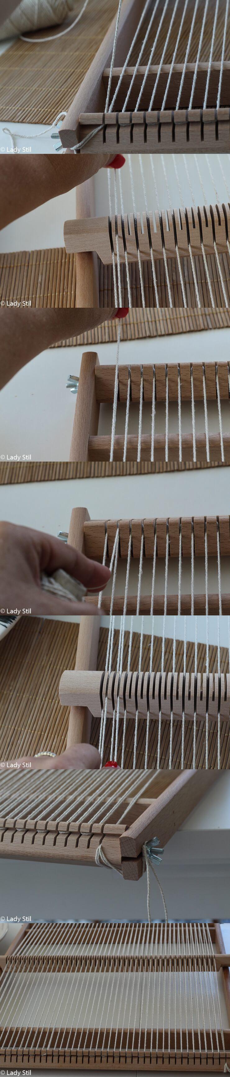 Wandteppich weben Kettfäden einlegen Anleitung