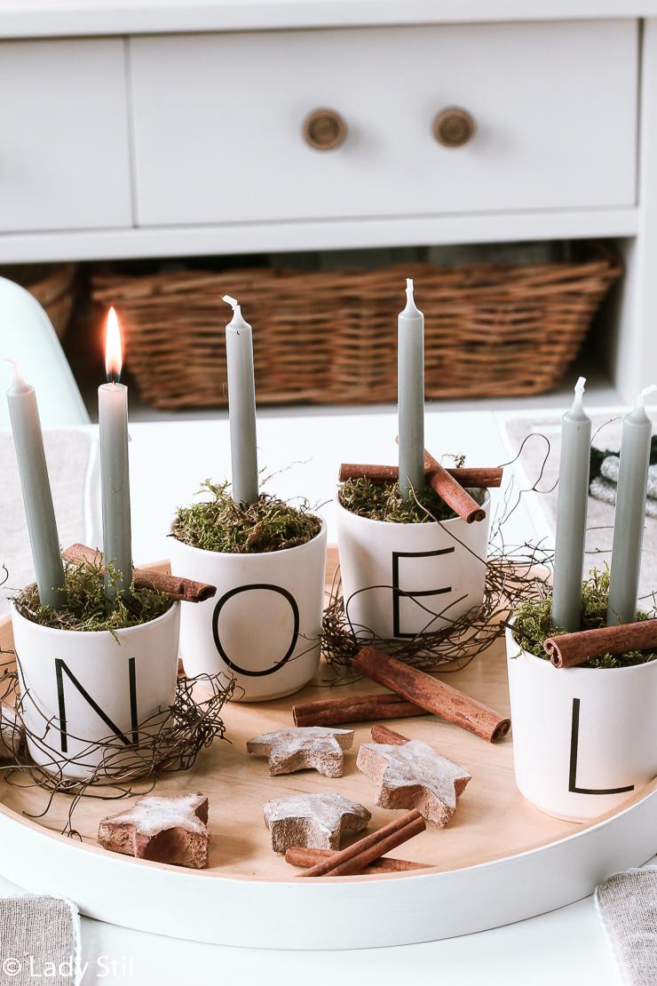 Last Minute Adventskranz Tassen Buchstaben
