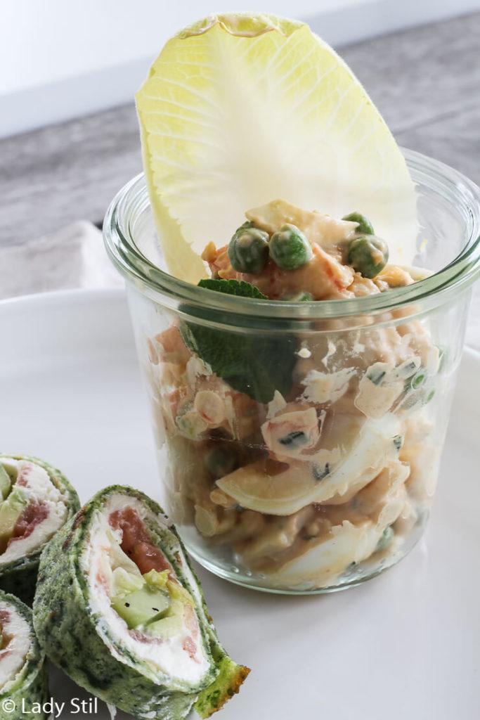 Osterbrunch Rezepte zum Vorbereiten Eiersalat mit Garnelen