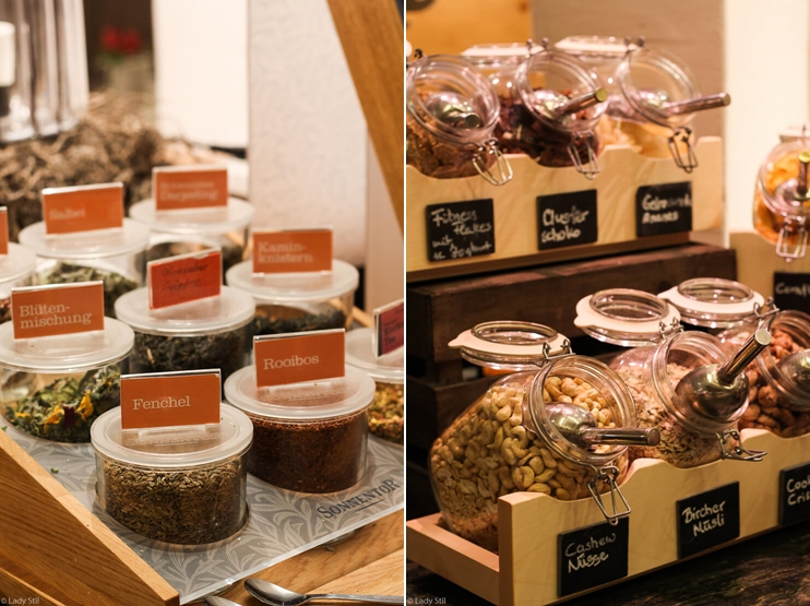 Familienhotel Oberforsthof Österreich Frühstücksbuffet Tee Müsli Cereals
