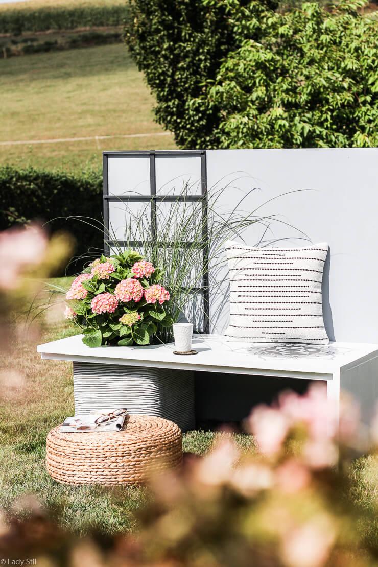 DIY Gartenbank Sichtschutz Rankhilfe Windschutz Mandala Scandi Boho